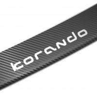 Фото 2 - Накладка с загибом на бампер карбон для Ssangyong Korando '11- (Premium+k)