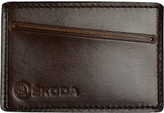 """Обложка для прав/тех.паспорта темно-коричневая """"Skoda"""""""