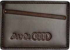 """Обложка для прав/тех.паспорта каштановая """"Audi"""""""