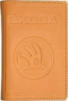 """Обложка для документов большая светло-коричневая """"Skoda"""""""