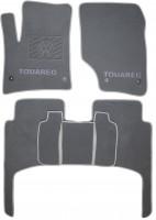 Коврики в салон для Volkswagen Touareg '02-09 текстильные, серые (Премиум) 4 клипсы