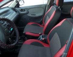 Авточехлы Premium для салона Daewoo Lanos красная строчка (MW Brothers) задняя спинка закрывает подголовники