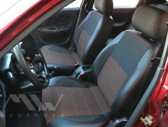 Авточехлы Premium для салона Daewoo Lanos красная строчка (MW Brothers) с отдельными задними подголовниками