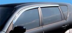 Дефлекторы окон для Chevrolet Aveo '08-11 хетчбек, хром (Auto Сlover)