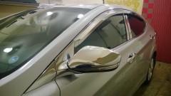 Дефлекторы окон для Hyundai Accent (Solaris) '11-17, седан, хром (Auto Сlover)