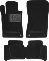 Коврики в салон для Mercedes CLS-Class W219 '04-10 текстильные, черные (Люкс) 4 клипсы