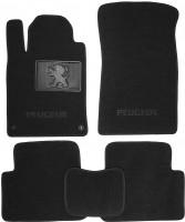Коврики в салон для Peugeot 407 '04- текстильные, чёрные (Люкс) 2 клипсы