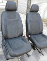 Авточехлы Leather Style для салона Volkswagen Touareg '10- (MW Brothers) черные