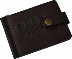 """Зажим для денег """"Audi"""" темно-коричневый"""