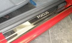 Накладки на пороги для Ford Focus II '04-11 хэтчбек 3 дв. (Premium)