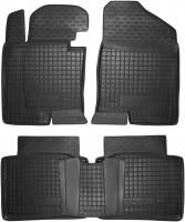 Коврики в салон для Hyundai Sonata '10-15 резиновые, черные (AVTO-Gumm)