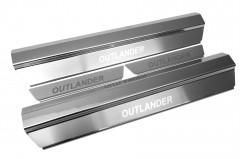 Фото товара 1 - Накладки на пороги для Mitsubishi Outlander '03-07 (Premium)