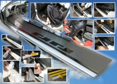 Фото 2 - Накладки на пороги для Toyota Yaris 2006-2010 (Premium)