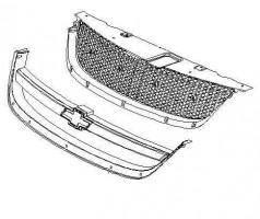 Решетка радиатора для Chevrolet Lacetti '03- Седан, хром рамка (Tempest)