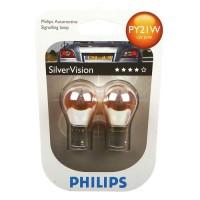 Автомобильная лампочка Philips SilverVision PY21W 12V 21W (комплект: 2 шт.) блистер