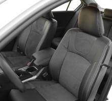 Фото 2 - Авточехлы Leather Style для Honda Accord '13-17 серая строчка (MW Brothers)