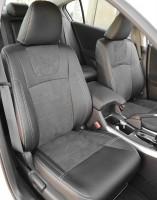 Фото 4 - Авточехлы Leather Style для Honda Accord '13-17 серая строчка (MW Brothers)