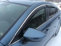 Дефлекторы окон для Mazda 6 '13-, с хром. молдингом (Hic)