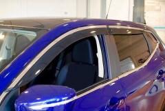 Дефлекторы окон для Nissan Qashqai '14-, с хром. молдингом (Hic)