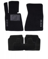 Коврики в салон для BMW 7 E66 '01-08 Long текстильные, черные (Люкс)