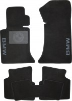 Коврики в салон для BMW 3 E46 '98-06 текстильные, черные (Люкс) без лентяйки