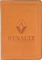 """Обложка для документов большая светло-коричневая """"Renault"""""""