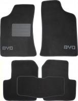 Коврики в салон для BYD F3 '05- текстильные, черные (Люкс) без лентяйки