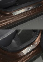 Фото 3 - Накладки на пороги Hyundai i-10 '14- (Premium)