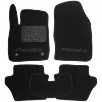 Коврики в салон для Ford Fiesta '09-17 текстильные, черные (Люкс) 2 клипсы