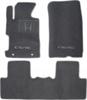 Коврики в салон для Honda Civic 4D '06-12 текстильные, серые (Люкс)