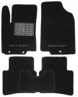 Коврики в салон для Hyundai Accent (Solaris) '11-17 текстильные, черные (Люкс)