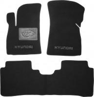 Коврики в салон для Hyundai Santa Fe '01-06 SM текстильные, черные (Люкс)
