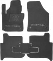 Коврики в салон для Volkswagen Touran '03-15 текстильные, серые (Премиум) 4 клипсы