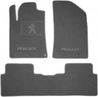 Коврики в салон для Peugeot 508 '11- текстильные, серые (Премиум) 2 клипсы