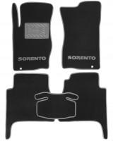 Коврики в салон для Kia Sorento '03-09 BL текстильные, серые (Люкс)