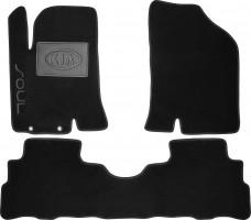 Коврики в салон для Kia Soul '09-13 текстильные, черные (Люкс)
