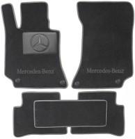 Коврики в салон для Mercedes E-Class W212 '09-15 текстильные, серые (Люкс) 4 клипсы