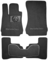 Коврики в салон для Mercedes S-Class W221 '06-13 текстильные, серые (Люкс) 4 клипсы