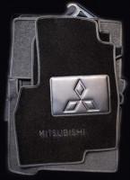 Коврики в салон для Mitsubishi Grandis '03-11, 6 мест, текстильные, черные (Люкс) 1+2+3 ряд
