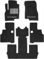 Коврики в салон для Mitsubishi Grandis '03-11, 6 мест, текстильные, серые (Люкс) 1+2+3 ряд