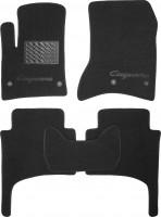 Коврики в салон для Porsche Cayenne '03-09 текстильные, черные (Люкс) 4 клипсы
