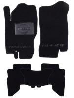 Коврики в салон для Nissan Pathfinder '05-14 текстильные, черные (Люкс) 7 мест