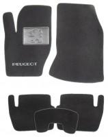 Коврики в салон для Peugeot 307 '01-07 текстильные, черные (Люкс)