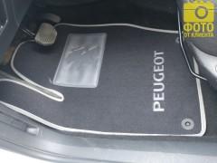 Коврики в салон для Peugeot 308 '08-13 текстильные, серые (Люкс) 4 клипсы