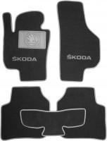 Коврики в салон для Skoda Superb '09-14 текстильные, серые (Люкс)