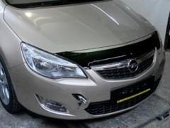 Дефлектор капота для Opel Astra J '09-15 короткий, черный (SIM)