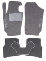 Коврики в салон для Volkswagen Polo '09-17 хетчбек текстильные, серые (Люкс)
