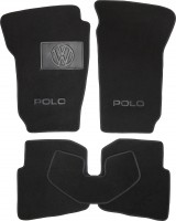 Коврики в салон для Volkswagen Polo '05-09 текстильные, черные (Люкс)