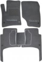 Коврики в салон для Volkswagen Touareg '02-09 текстильные, серые (Люкс) 8 клипс