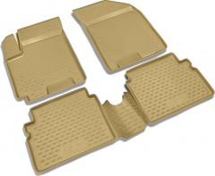Коврики в салон для Chevrolet Aveo '04-11 полиуретановые, бежевые (Novline / Element)